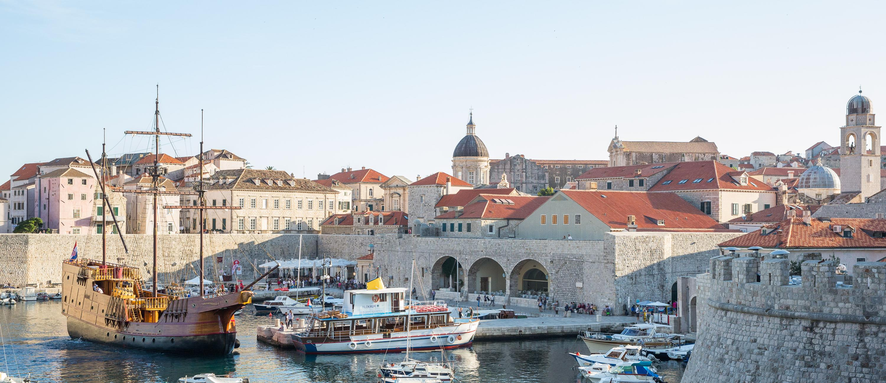Dubrovnik Old Port with Karaka Ship