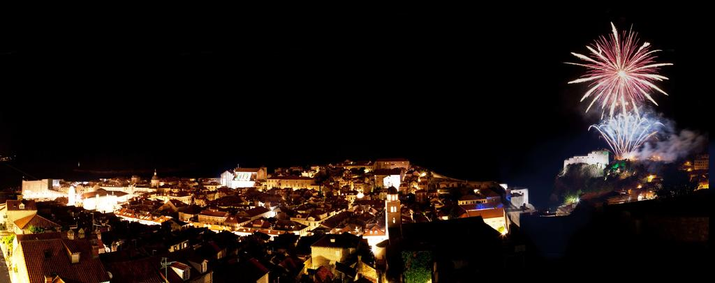 Night panorama of Dubrovnik with fireworks